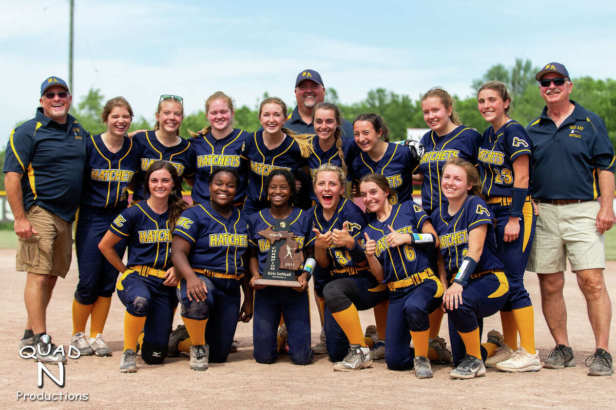 The Bad Axe varsity softball team captured its first district title since 1999 with a 19-6 victory over Sandusky on Saturday in Cass City.