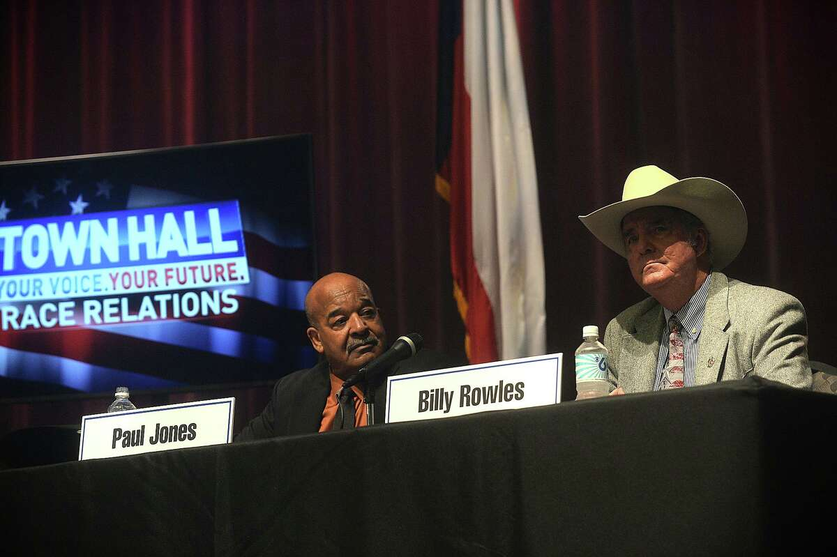 Beaumont NAACP President Paul Jones reacts as Newton County Sheriff Billy Rowles responds to a question during a town hall meeting on race relations in Southeast Texas hosted by KFDM Wednesday night at the Event Centre. Several local officials, including Jefferson County Sheriff Zena Stephens, and Beaumont Police Chief James Singletary were among the panel speakers to respond to questions from the public both in attendance and watching online. Photo taken Wednesday, January 18, 2017 Kim Brent/The Enterprise