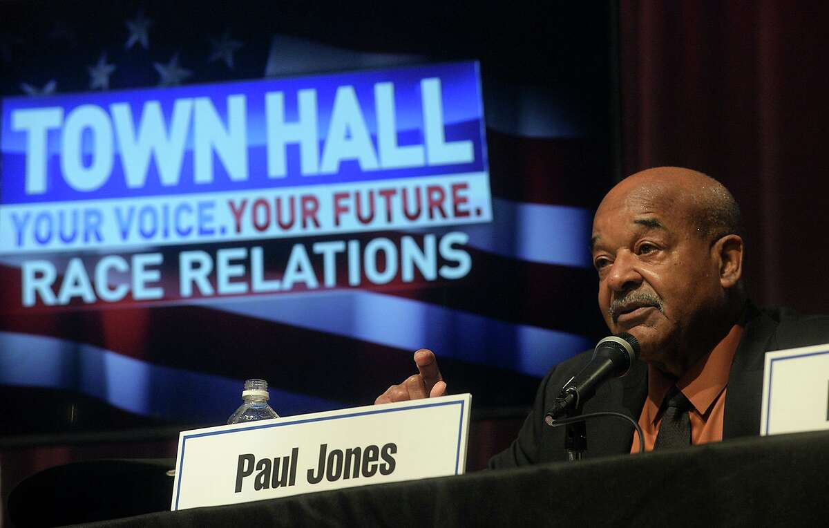 NAACP President Paul Jones responds to an audience member's question during a town hall meeting on race relations in Southeast Texas hosted by KFDM Wednesday night at the Event Centre. Several local officials, including Jefferson County Sheriff Zena Stephens, Beaumont Police Chief James Singletary, Newton County Sheriff Billy Rowles were among the panel speakers. Photo taken Wednesday, January 18, 2017 Kim Brent/The Enterprise