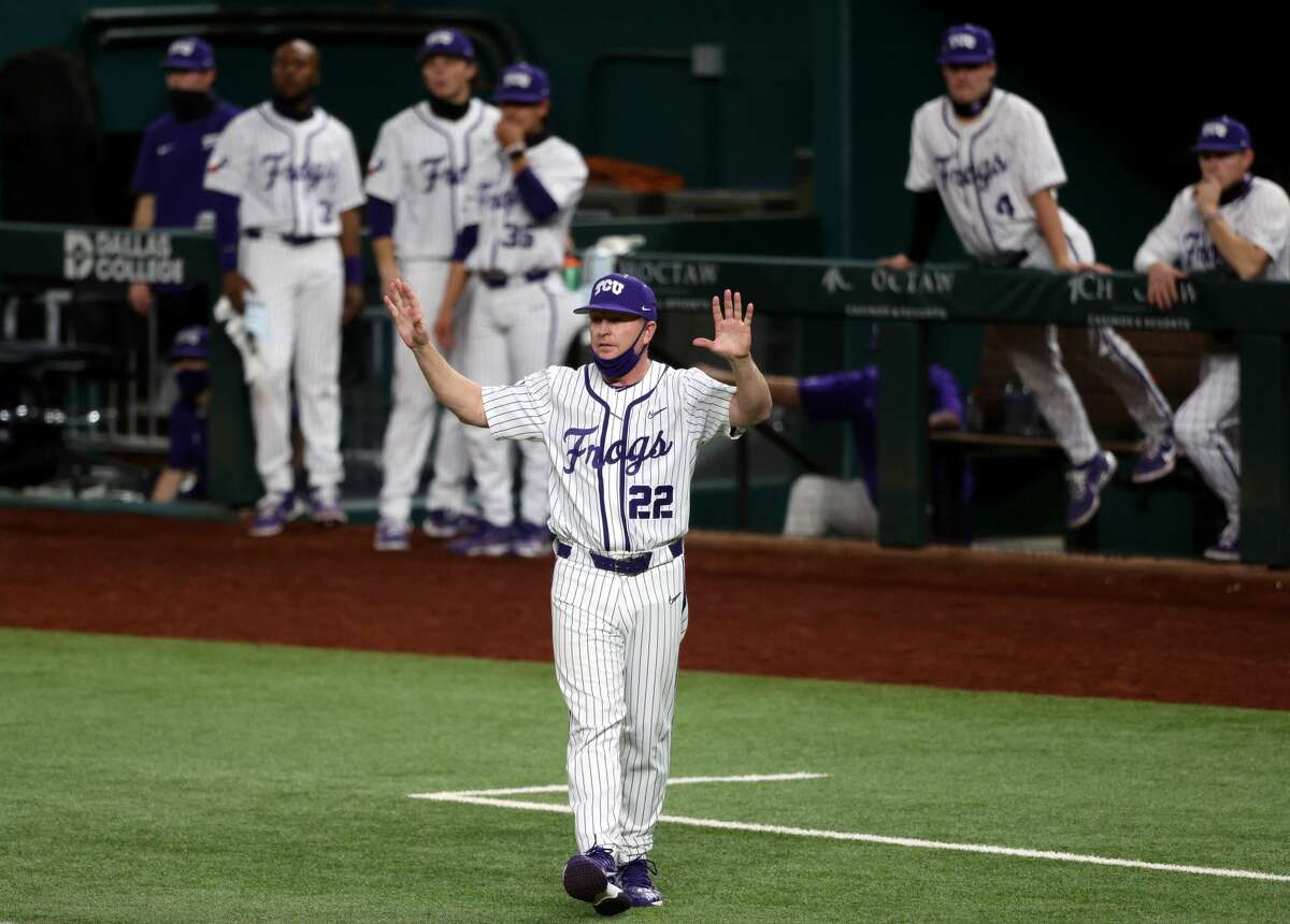 Jim Schlossnagle, shown here at the 2021 State Farm College Baseball Showdown at Globe Life Field, has led TCU to five College World Series trips.