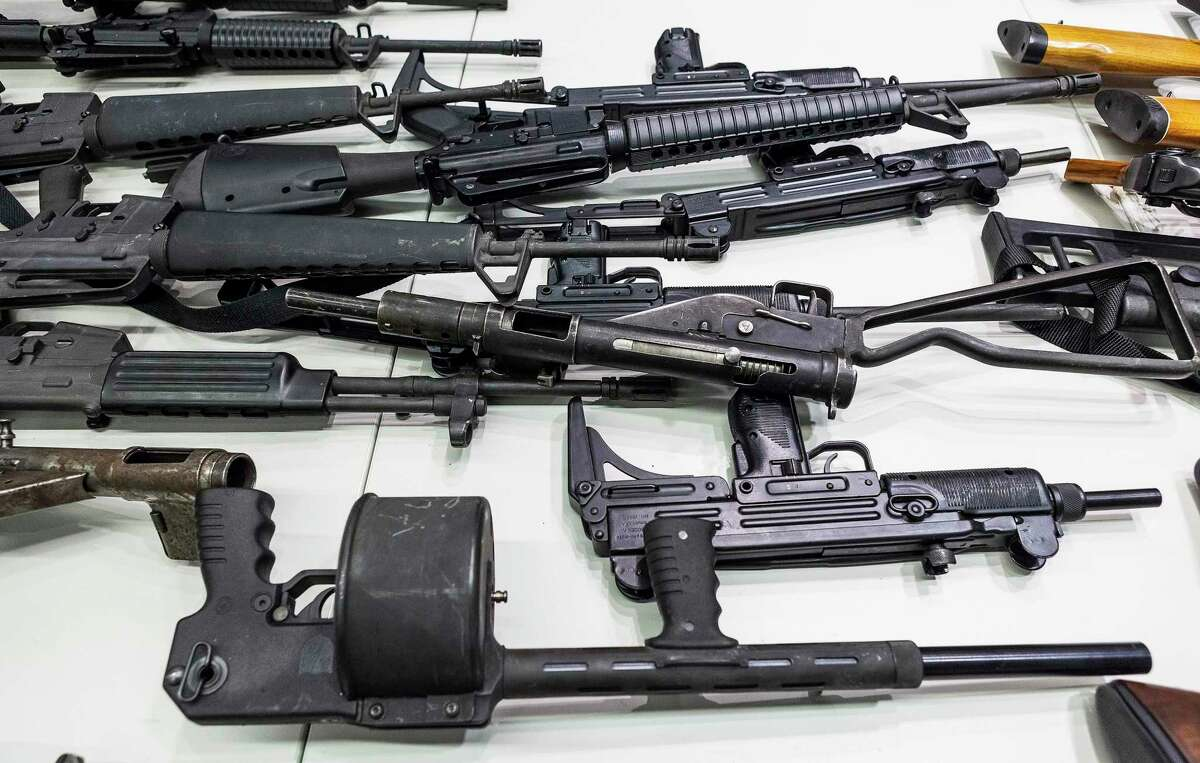 Handguns, rifles, shotguns and assault weapons, collected in a Los Angeles Gun Buyback event displayed during a news conference at the LAPD headquarters in Los Angeles in 2012.