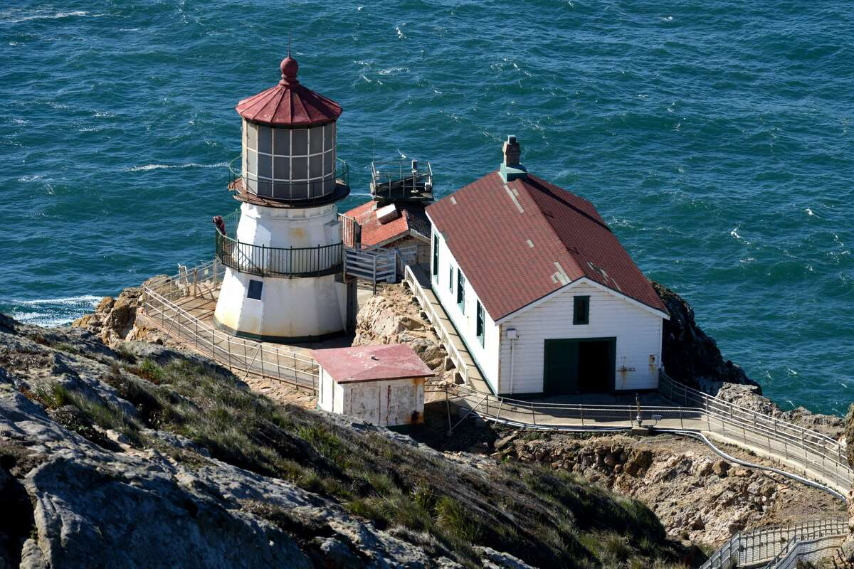 The Point Reyes Lighthouse overlooks the Gulf of the Farallones in Point Reyes National Seashore, located in Marin County.