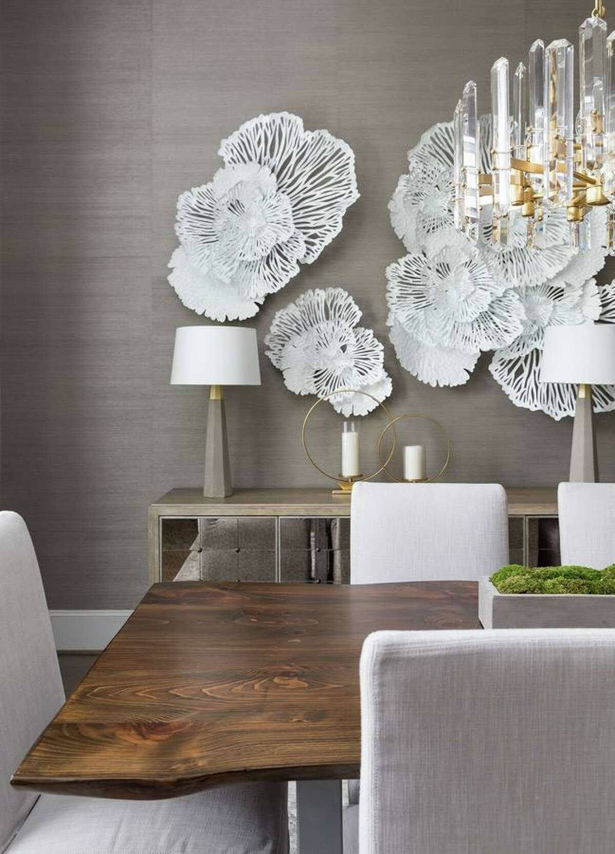 Large-scale wall decor can take the place of art.