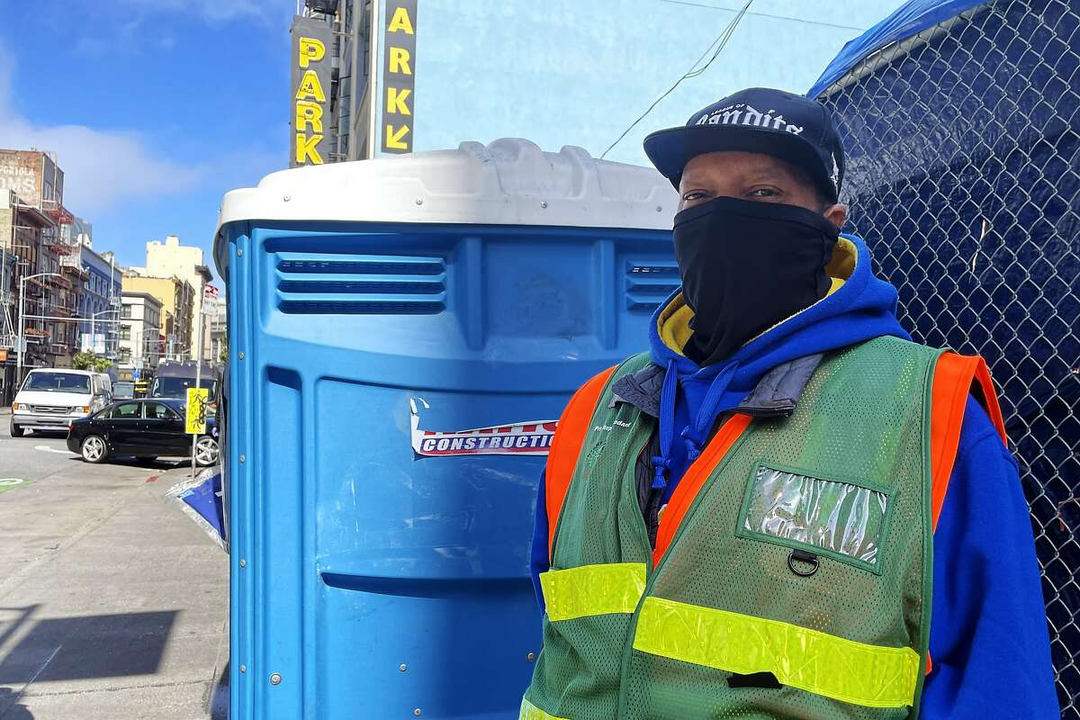 Moses Clark, who works for non-profit Hunters Point Family manning and cleaning two porta-potties on 180 Jones Street in the Tenderloin, said more public bathrooms are needed to keep people from going on the sidewalks.