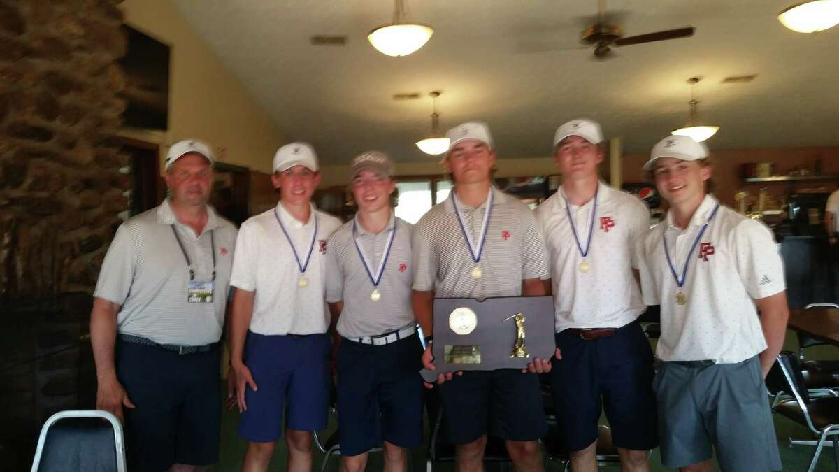 Fairfield Prep celebrates winning CIAC Division I Boys Golf title with 296 points on Monday, June 7
