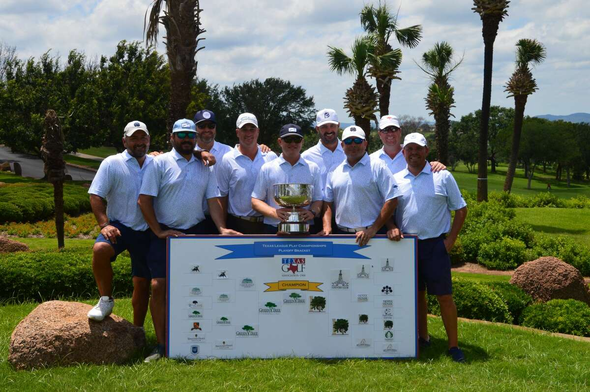 Golfers from Green Tree Country Club pose after winning the Texas League Play Playoffs on Sunday at Horseshoe Bay's Apple Rock course.