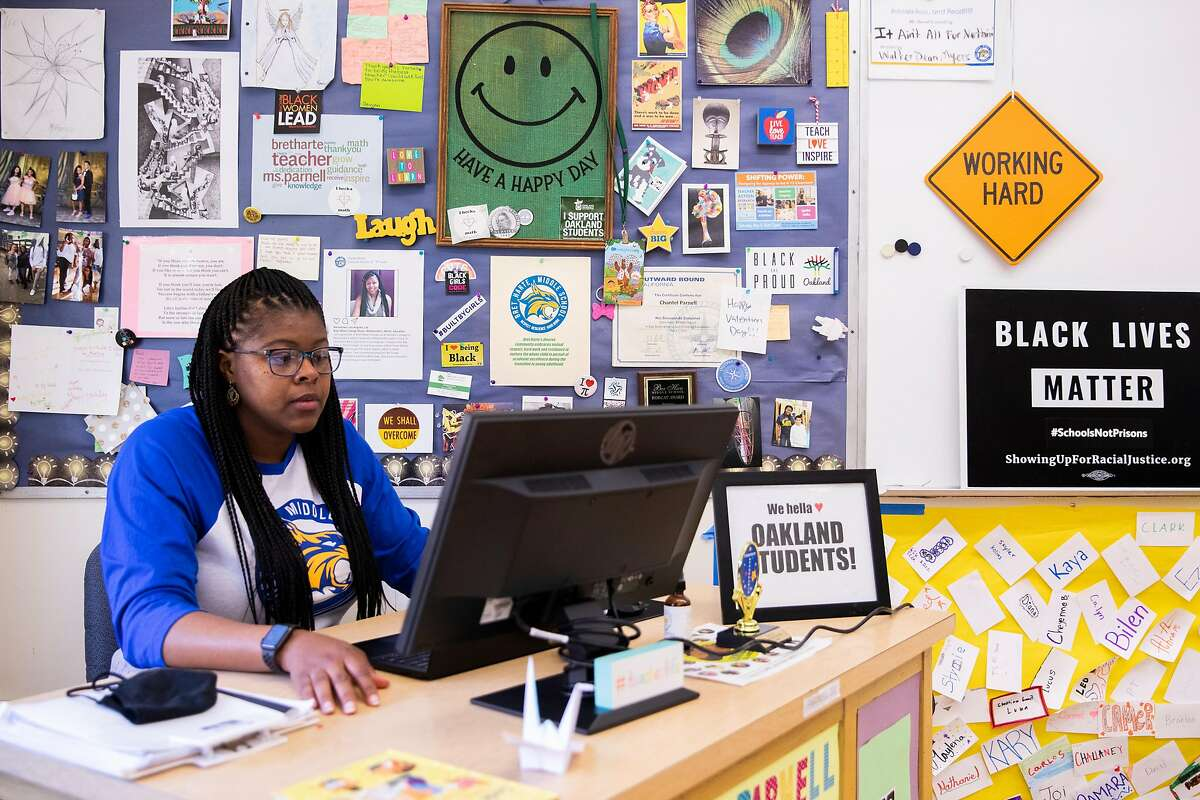 Computer Science teacher Chantel Parnell works at her desk in her classroom at Bret Harte Middle School in Oakland. Parnell recently won Teacher of the Year for Oakland Unified School District. Her computer science and animation students presented at the first Future Trailblazer Challenge, hosted by Salesforce.org, facing off with students from other schools in a