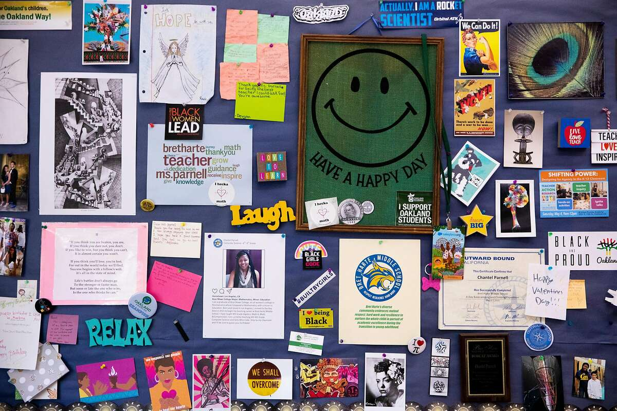 A vibrant bulletin board sits above Computer Science teacher Chantel Parnell's desk at Bret Harte Middle School in Oakland, Calif. Thursday, May 27, 2021. Parnell recently won Teacher of the Year for Oakland Unified School District. She piloted an all-girls computer science class at her school and brought a group of her students to present at the first-ever Future Trailblazer Challenge, hosted by Salesforce with David Beckham.