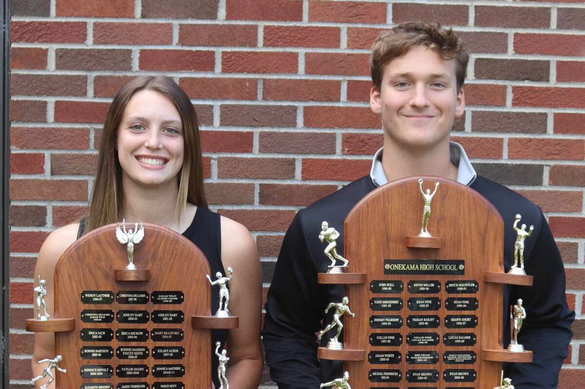 Ben Falk and Sophie Wisniski are recognizedwith Onekama's Athlete of the Year Award.