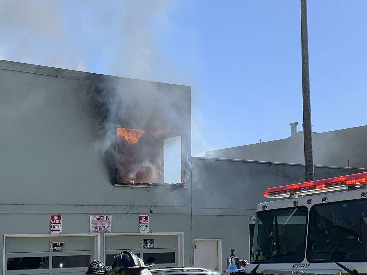 A fire is seen from the top floor of 407 Monterey Boulevard on Monday, June 7, 2021.