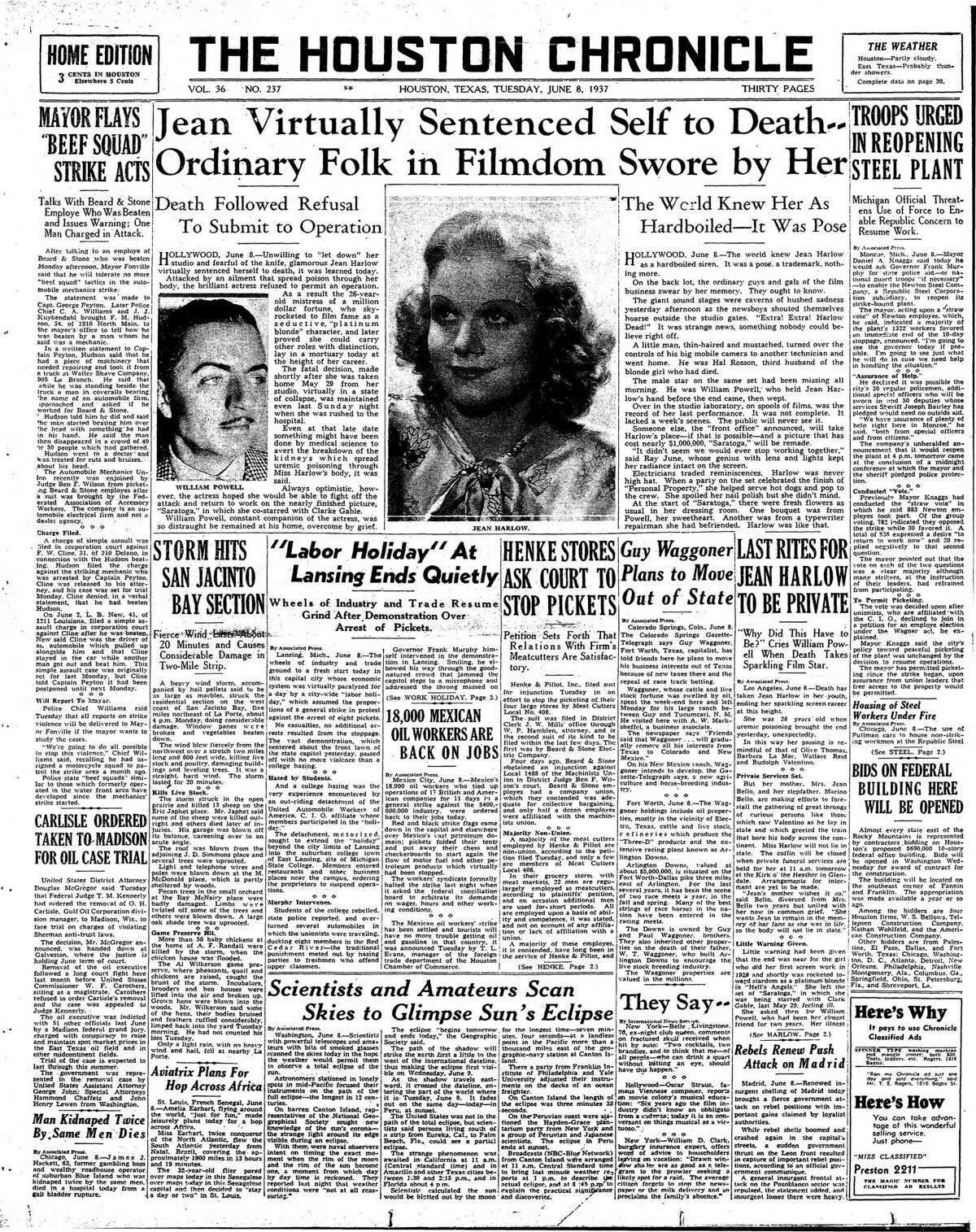 Houston Chronicle front page from June 8, 1937.