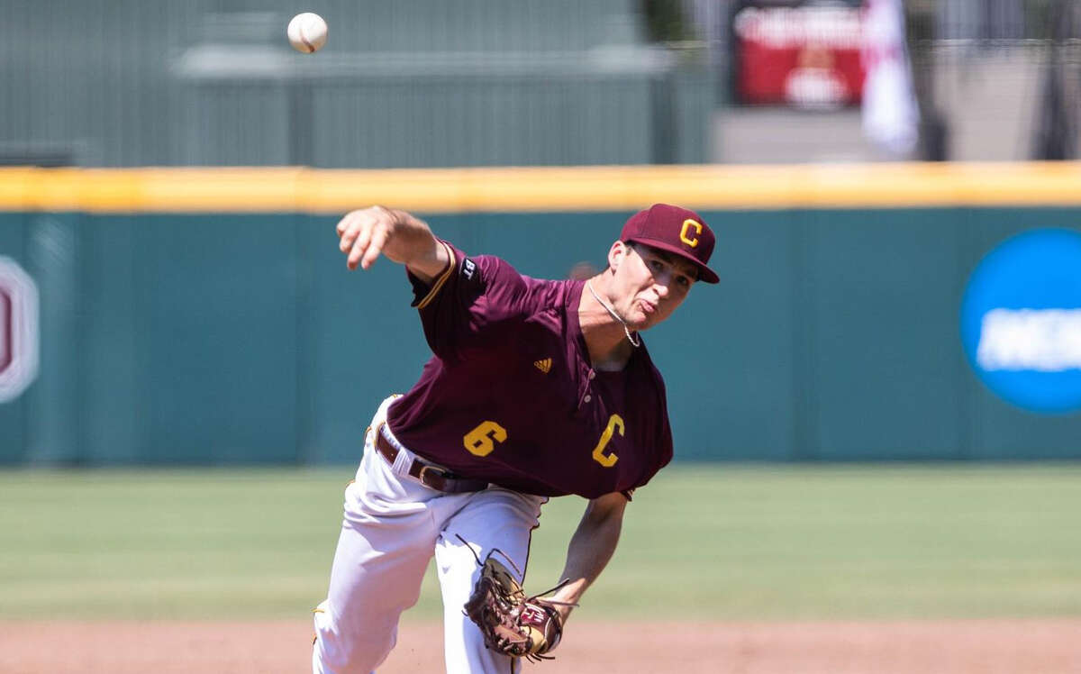 Central Michigan's Jordan Patty delivers a pitch during a game on an unspecified date.