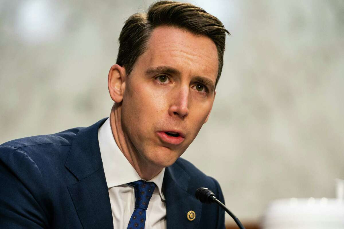 Sen. Josh Hawley, R-Mo., speaks during confirmation hearings for then-attorney general nominee Merrick Garland before the Senate Judiciary Committee on Capitol Hill on Feb. 22.