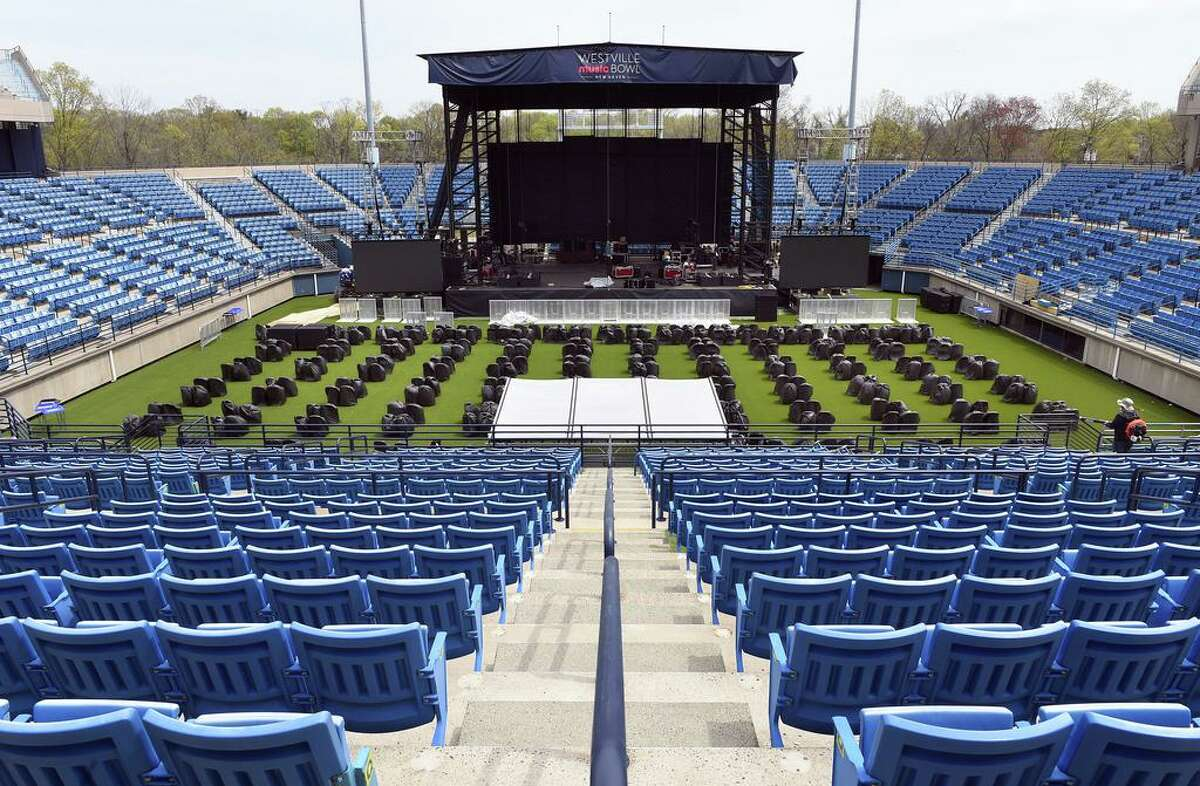 The Connecticut Tennis Center in New Haven is transformed into the Westville Music Bowl, April 28, 2021.