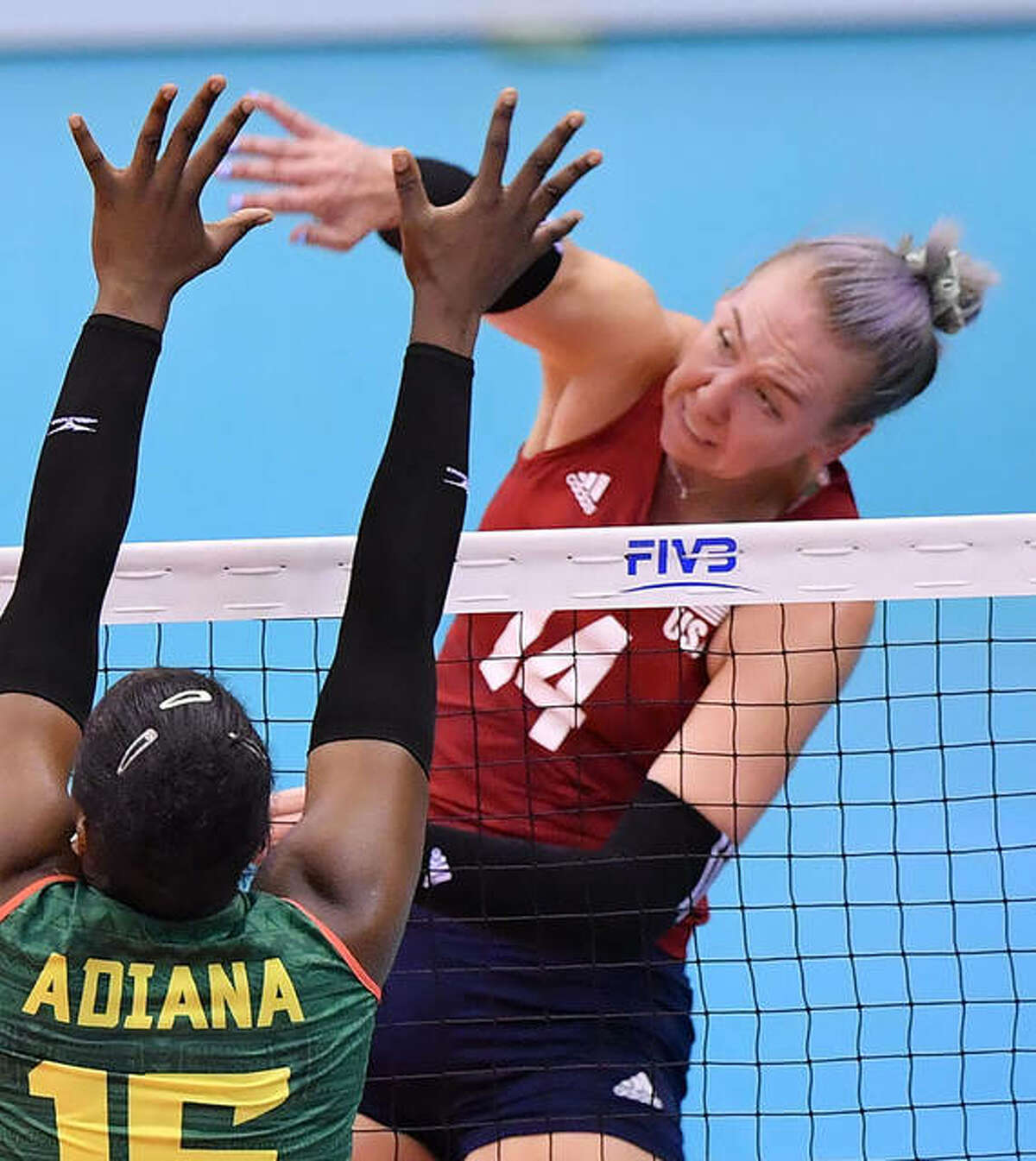 Michelle Bartsch-Hackley in action for Team USA. Bartsch-Hackley is a Collinsville High School graduate.