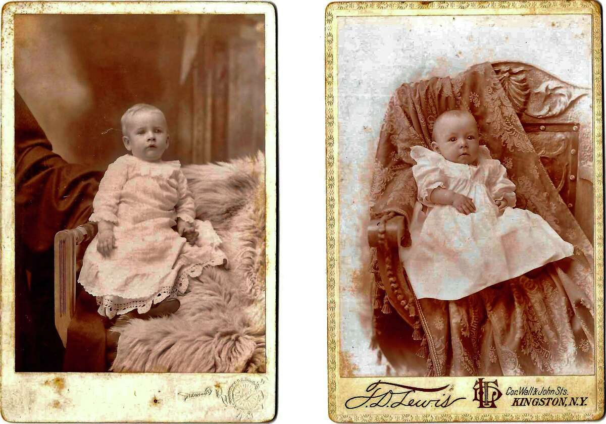 Examples of shrouded parent photography, in which parents impersonated furniture or backdrop to keep babies still during long exposure time.