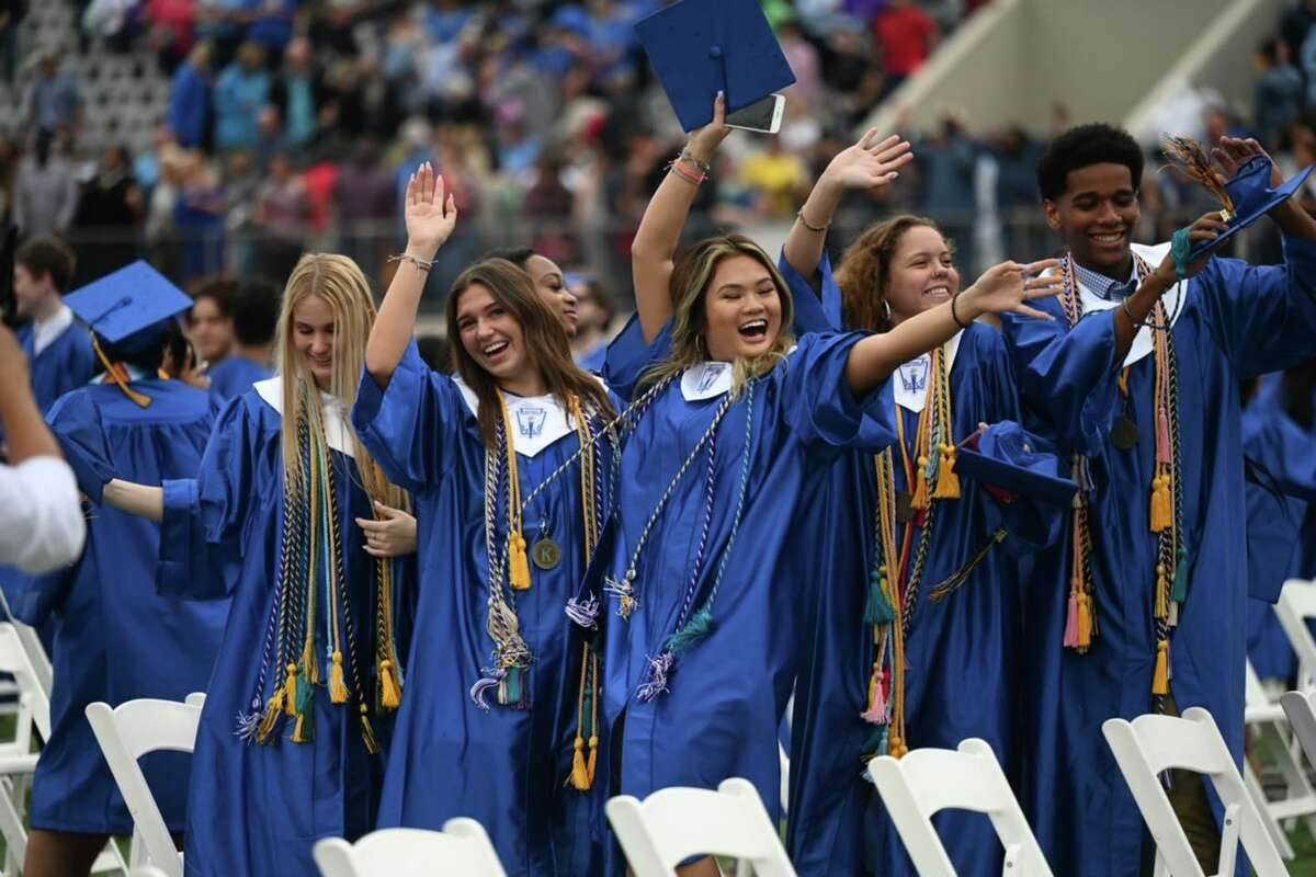 Klein High School Class of 2021 graduates celebrate during their ceremony held June 4 at Klein Memorial Stadium.