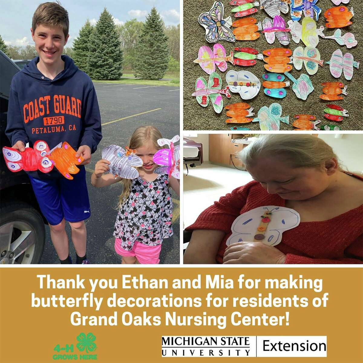 Butterflies: Siblings, Mia Snyder, 6, and Ethan Smith, 13, created paper butterflies and delivered them to residents at Grand Oaks Nursing Center in Baldwin. (Courtesy/Lake County 4H)