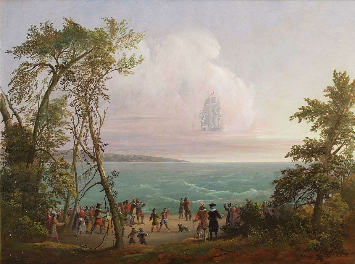 """Vision of the Phantom Ship, painted by Jesse Talbot in 1850, recalls the """"Great Shippe,"""" a New Haven vessel lost at sea in 1647."""