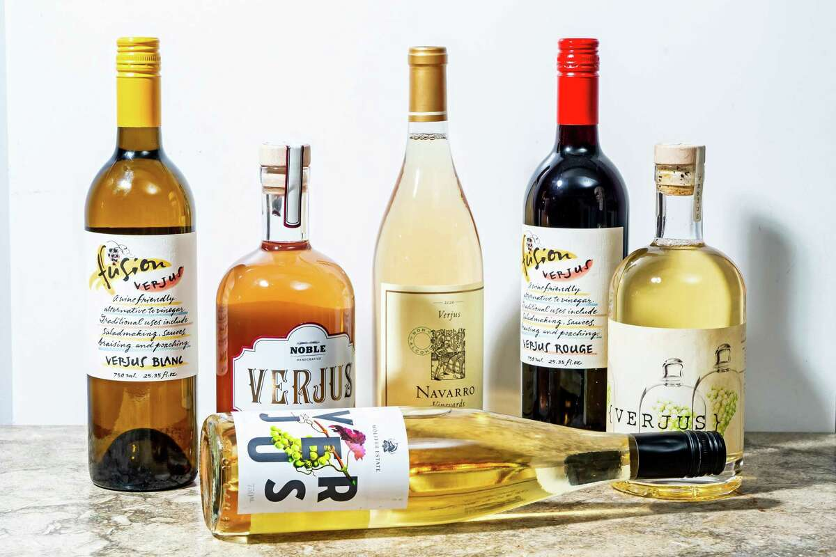Bottles of verjus, from left: Fusion Verjus Blanc, Mikuni Noble Verjus, Navarro Vineyards Verjus, Fusion Verjus Rouge, Montinore Estate Verjus; front: Wolffer Estate Verjus.