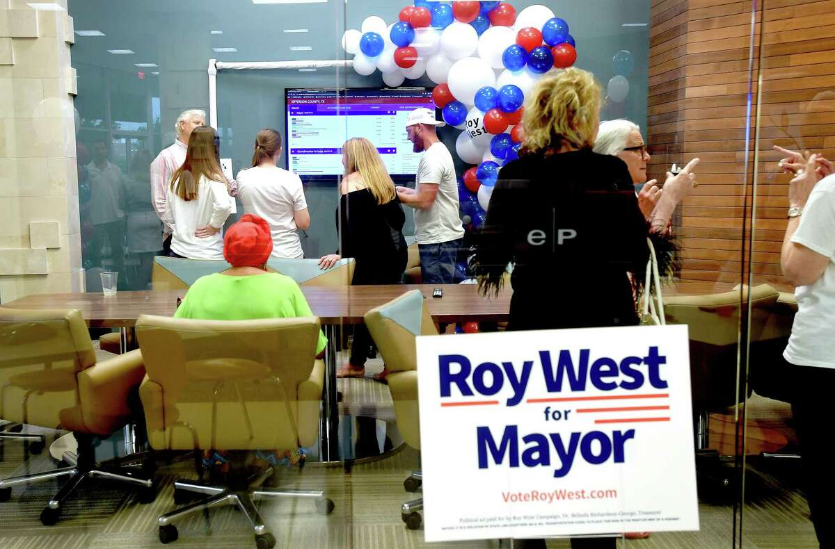 Mayoral candidate Roy West supporters gather during his watch party on election day Saturday. Photo made Saturday, May 1, 2021 Kim Brent/The Enterprise