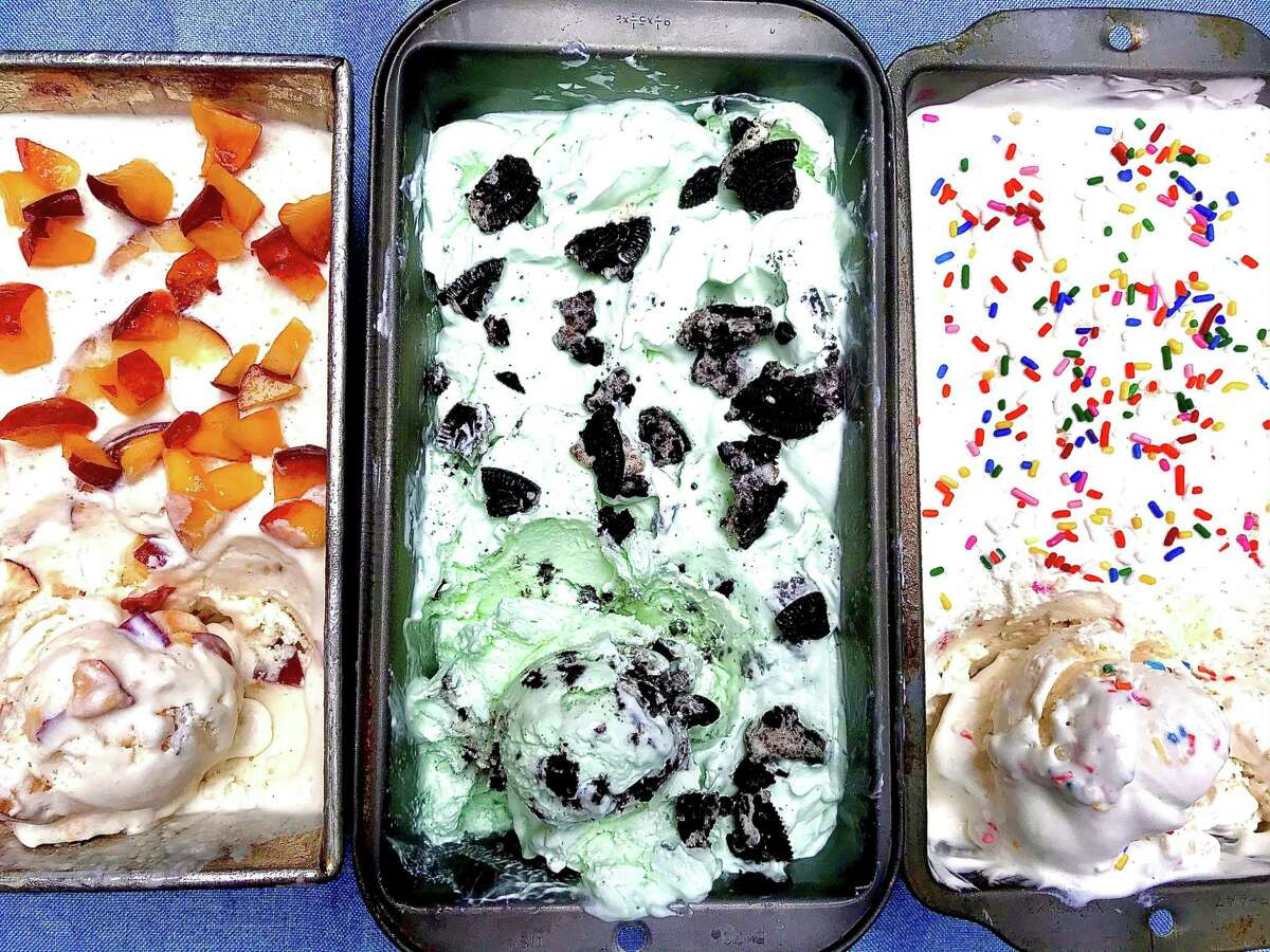 No-churn ice creams are easy to make. From left: Peach, Mint Cookies & Cream, and Vanilla Birthday Cake.