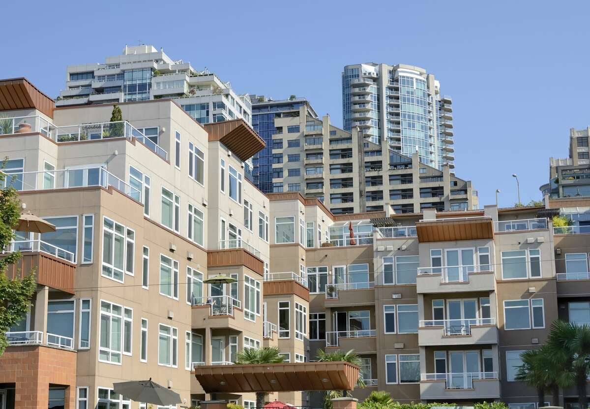 Apartment buildings in downtown Seattle right by the waterfront.
