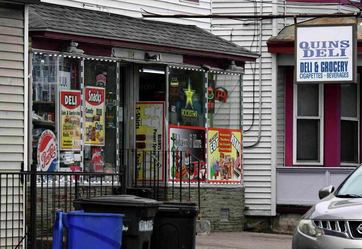 Exterior of Quins Deli on Tuesday, June 8, 2021, on Albany Street in Schenectady, N.Y. Schenectady is examining the point system it uses to regulate problematic bodegas. The store has had complaints and police calls. (Will Waldron/Times Union)