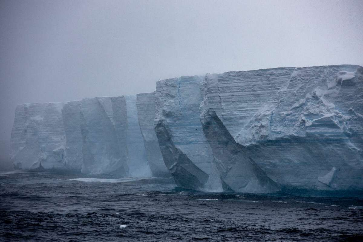 The edge of Iceberg A-68, the world's largest iceberg, in the Southern Ocean.