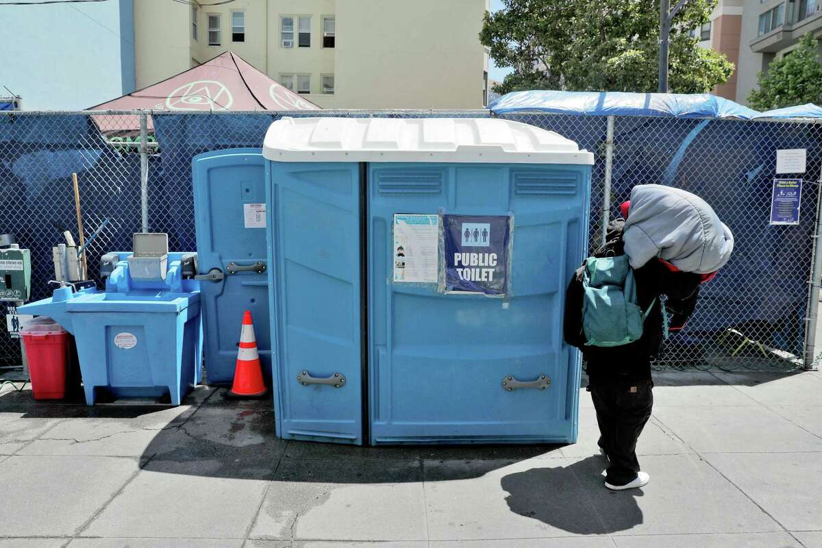 Portable bathroom and hand-washing station serve a homeless encampment at Turk and Jones streets.