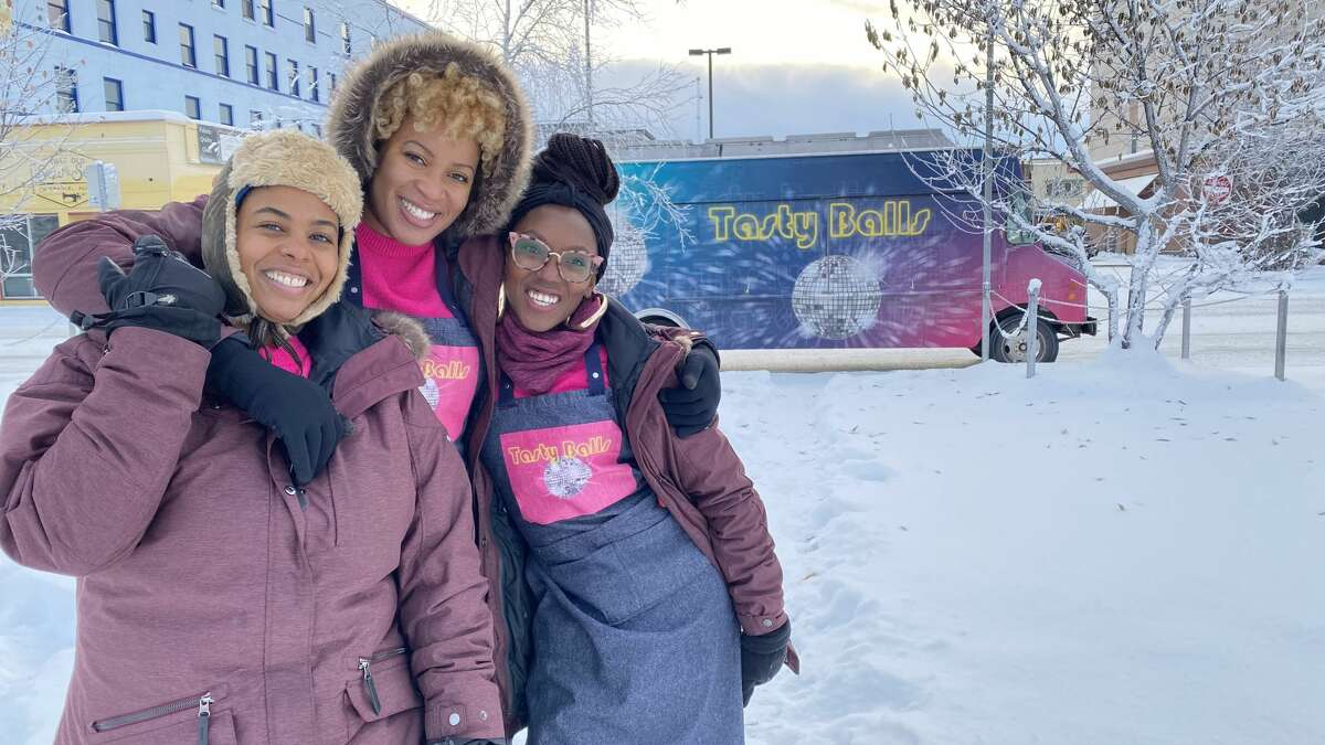 The founders of Tasty Balls, from left to right: Nadia Ahmed, Misti Buard and D'Ambria Jacobs.