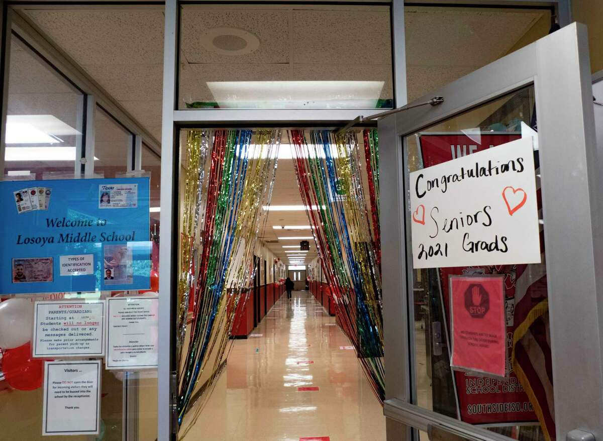A sign at Losoya Middle School in Southside ISD welcomed high school seniors, who were to parade in the school's halls on June 1 to inspire the younger students.