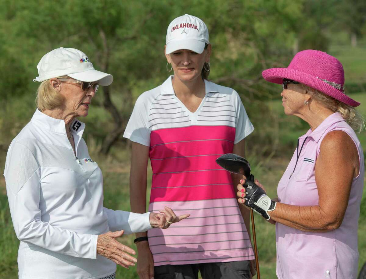 Honorary flight announcer Judy Rankin, left, talks with Paula Bettis and Championship Flight player Jerry Whitfield at the 86th annual Women's West Texas Tournament 06/08/2021 at Midland Country Club. Tim Fischer/Reporter-Telegram