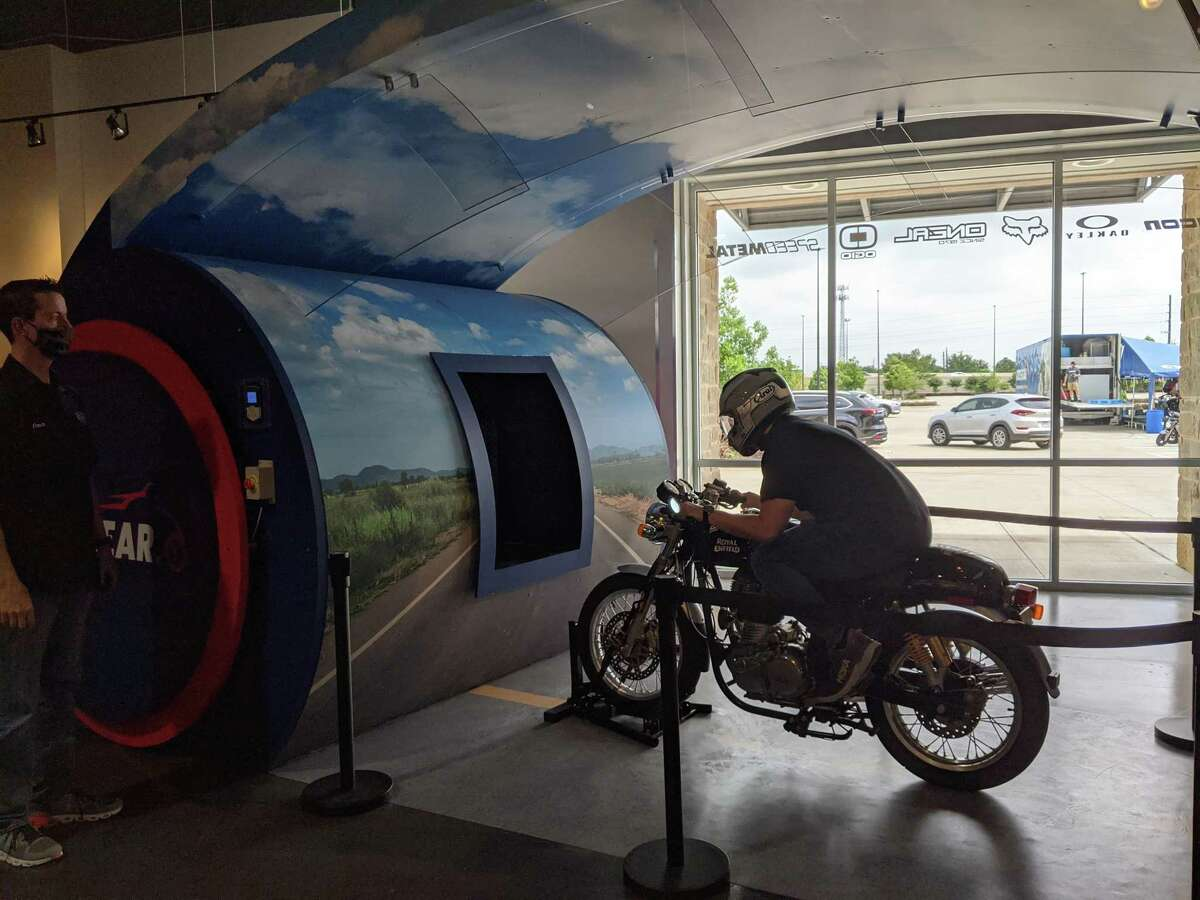 Cycle Gear Katy has a wind tunnel which simulates riding down a highway at 60 miles per hour.