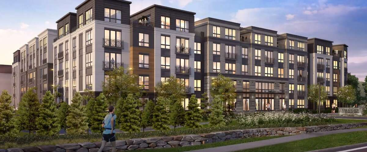 A rendering of the 4.5-story building proposal at 141 Danbury Road.