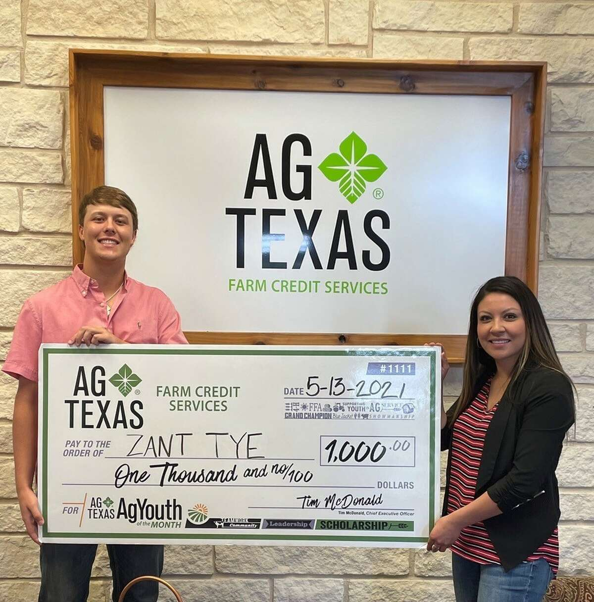 Here are the AgTexas AgYouth scholarship recipients for 2021. These students were recipients of $1,000 scholarships. Pictured: Zant Tye (Kress 4-H) and Sofia Zuniga (AgTexas Farm Credit Services)