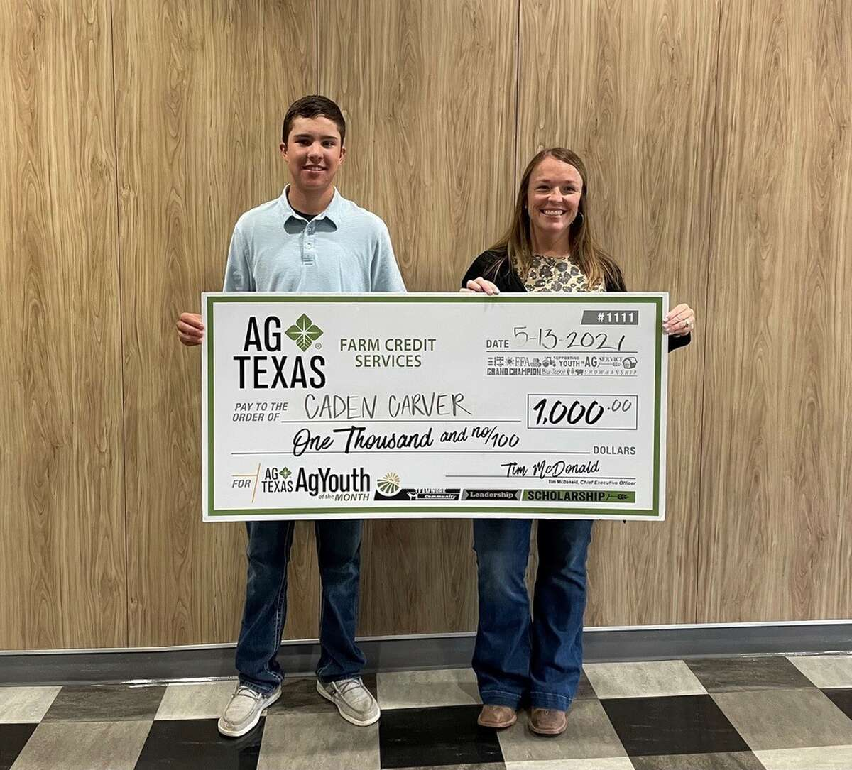 Here are the AgTexas AgYouth scholarship recipients for 2021. These students were recipients of $1,000 scholarships. Pictured: Caden Carver (Abernathy 4-H) and Kristy Tucker (AgTexas Farm Credit Services)