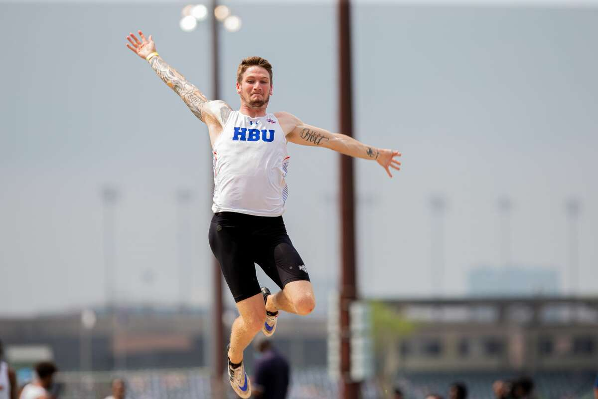 Lee grad and Houston Baptist decathlete Denim Rogers competes in a track & field meet.