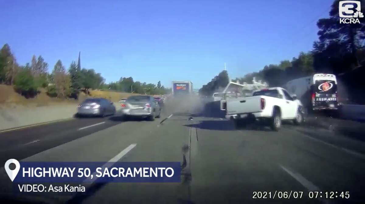 Five people suffered minor injuries in a multi-vehicle crash on Highway 50 in Sacramento on June 7, 2021.