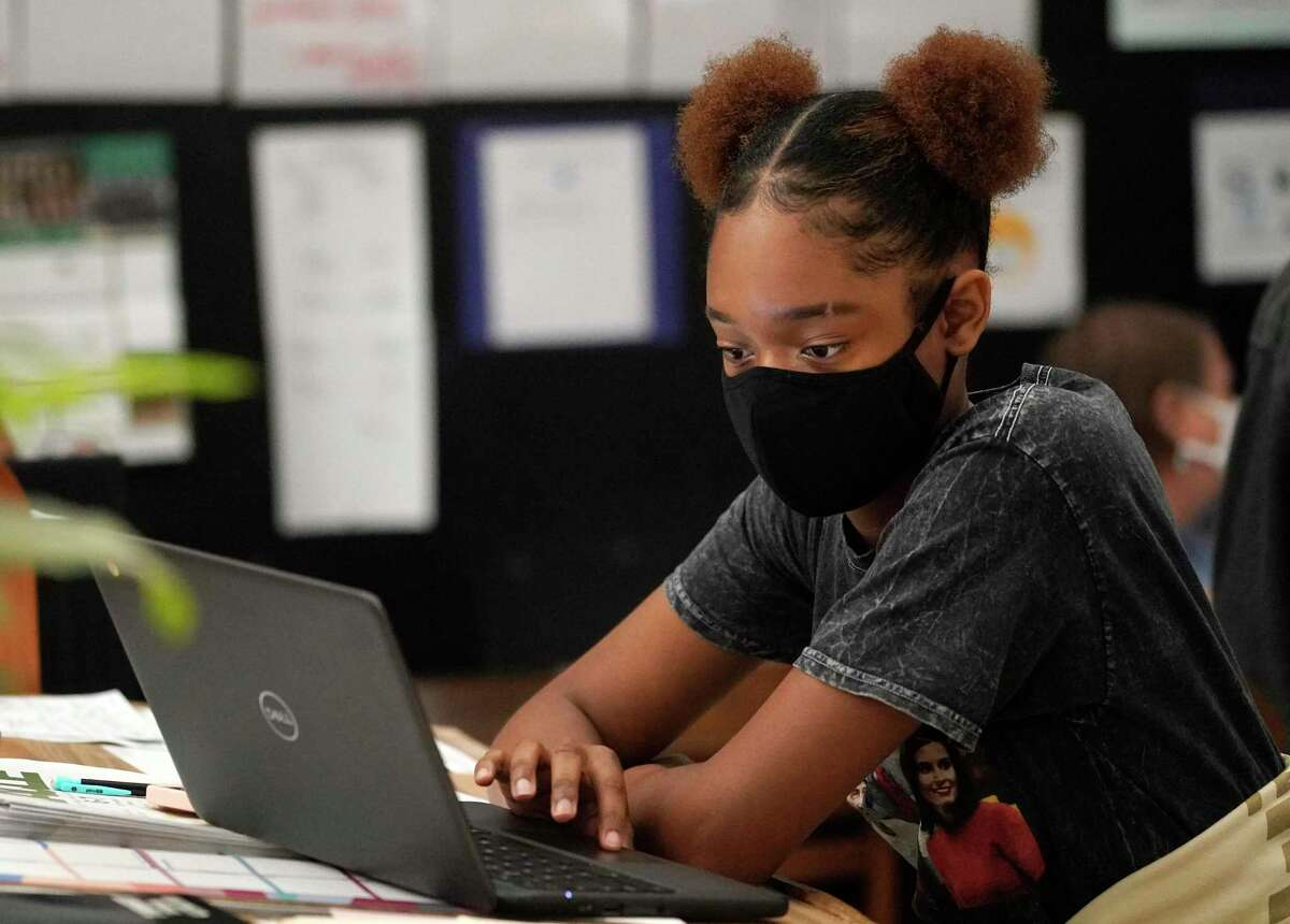 Randi Young, 15, a freshman, is shown in journalism class at Stratford High School 14555 Fern Dr., Friday, Oct. 23, 2020 in Houston. As more students are opting to return to campuses for in-person instruction for the second grading period, Spring Branch ISD went from having about 54.5 percent of its students on campus to 67.5 percent.