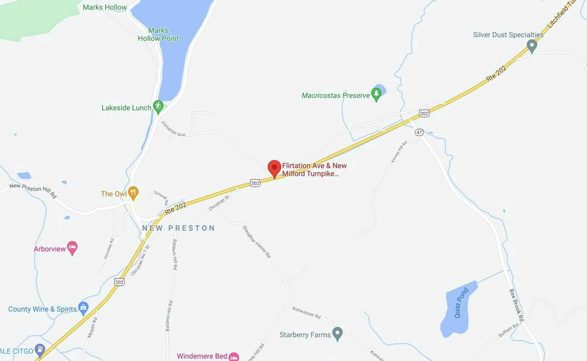 A 20-year-old man was struck by a vehicle Monday night near the intersection of New Milford Turnpike and Flirtation Avenue in Washington, Conn.
