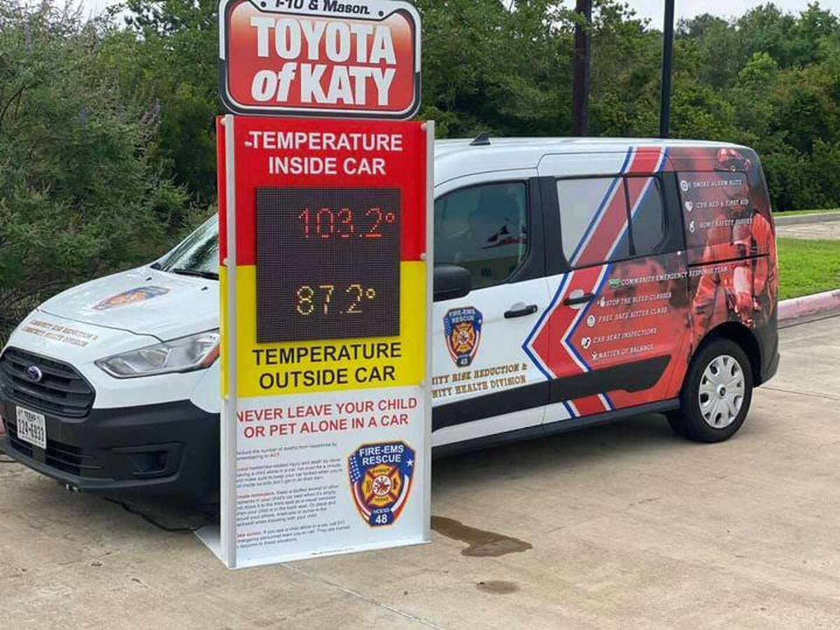 The Hot Car Initiative shows how rapidly temperatures rise inside a parked vehicle at Harris County Emergency Services District No. 48 Station 5 in Katy on Monday, June 7.