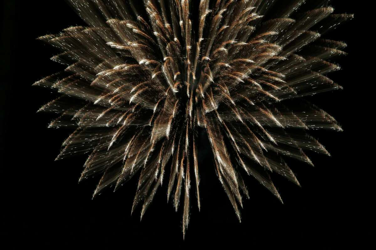 A detail of one of the fireworks set off by San Antonio pyrotechnics company Magic in the Sky on June 6 at Six Flags Fiesta Texas.