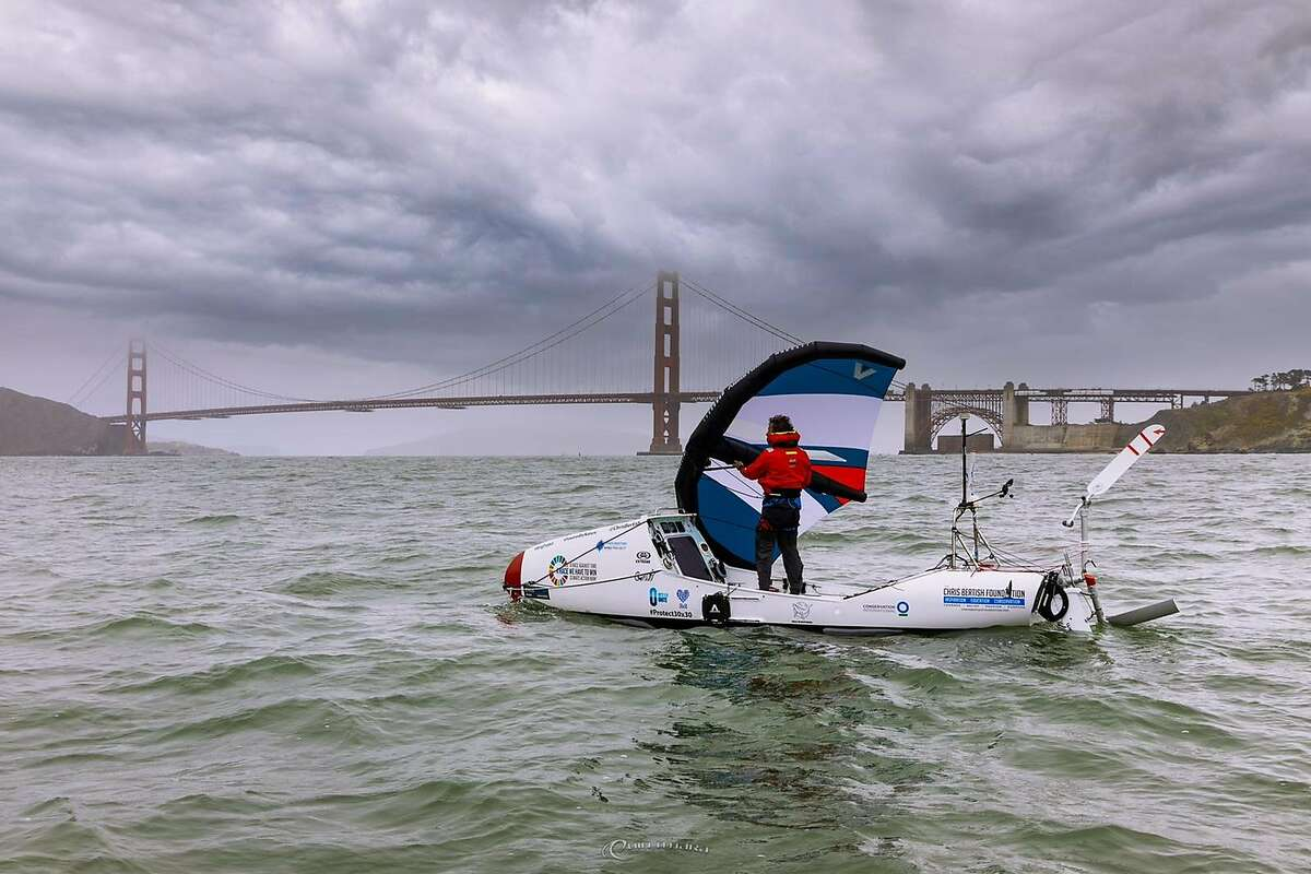 Chris Bertish sails his wing-powered hydrofoil craft recently just outside San Francisco Bay.