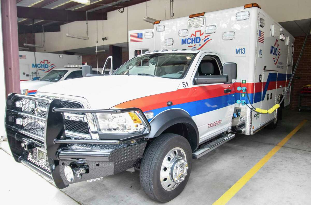 A Montgomery County Hospital District ambulance is docked Tuesday, Jan. 15, 2019 at the MCHD sevice center in Conroe. Ambulances and other first responder vehicles will be part of an emergency exercise Thursday morning in The Woodlands.