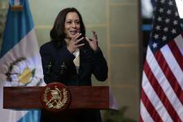 Vice President Kamala Harris speaks during a news conference with Guatemalan President Alejandro Giammattei at the National Palace in Guatemala City, Monday, June 7, 2021. (AP Photo/Oliver de Ros)