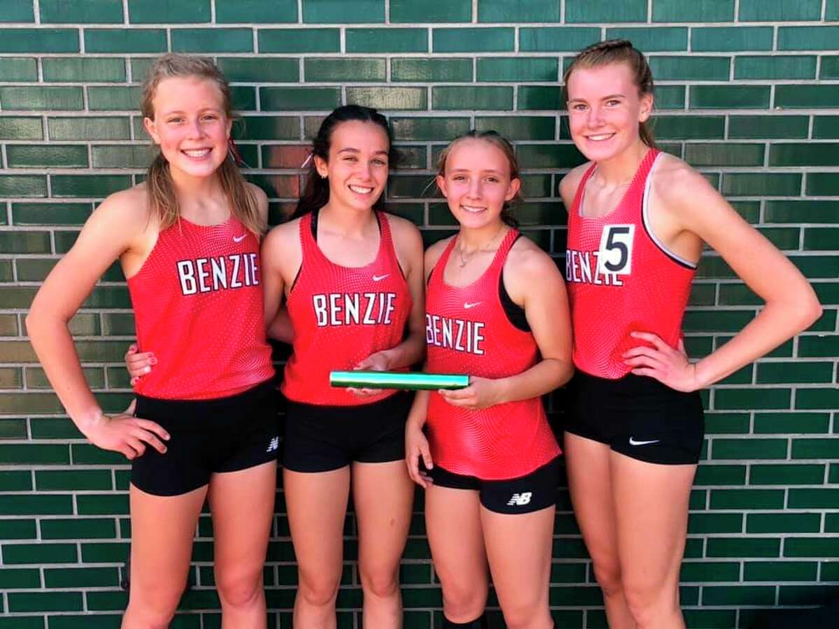 Benzie Central's 4x800-meter relay team of Mylie Kelly, Cierra Guay, Madson Teichman and Elise Johnson (pictured left to right) had the top girls finish at thestate meet placing fourth. (Courtesy photo)