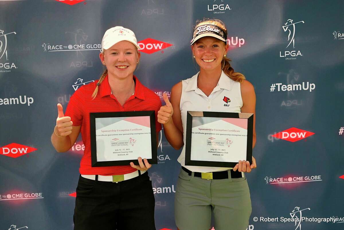 Former University of Louisville teammates Molly Lyne, left, and Lauren Hartlage won the Dow Great Lakes Bay Invitational Qualifier on June 3 at The Fortress in Frankenmuth, thereby earning an exemption into the Dow GLBI July 14-17 at the Midland Country Club. (Photo courtesy of Dow GLBI)