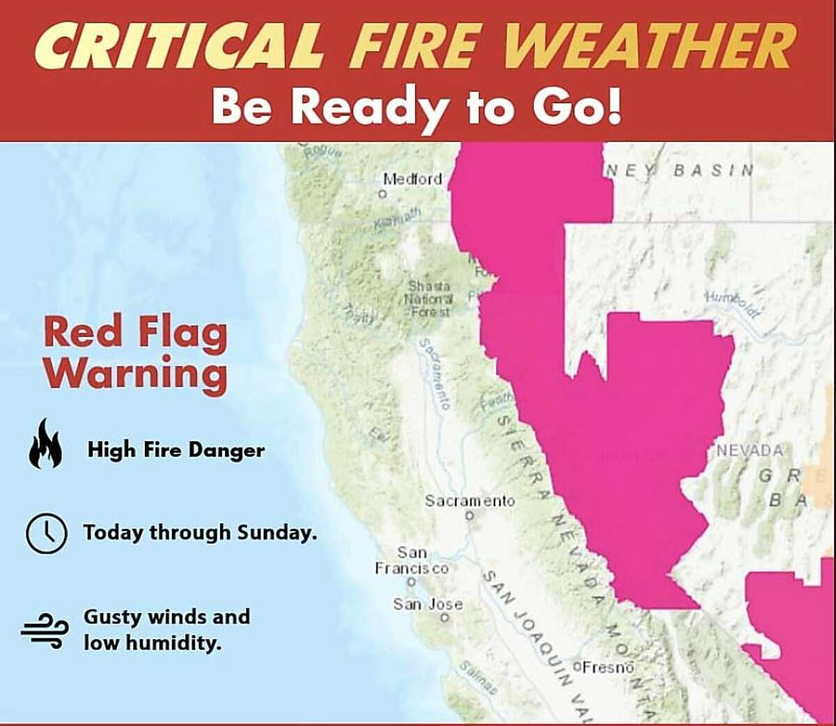 A Cal Fire map showing large portions of northeastern California under a red flag warning - signaling a critical wildfire risk - that will last through Sunday.