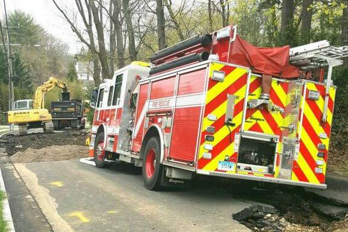 A Greenwich fire engine was temporarily immobilized by buckling pavement on Anderson Road when it responded to a broken water main in April.